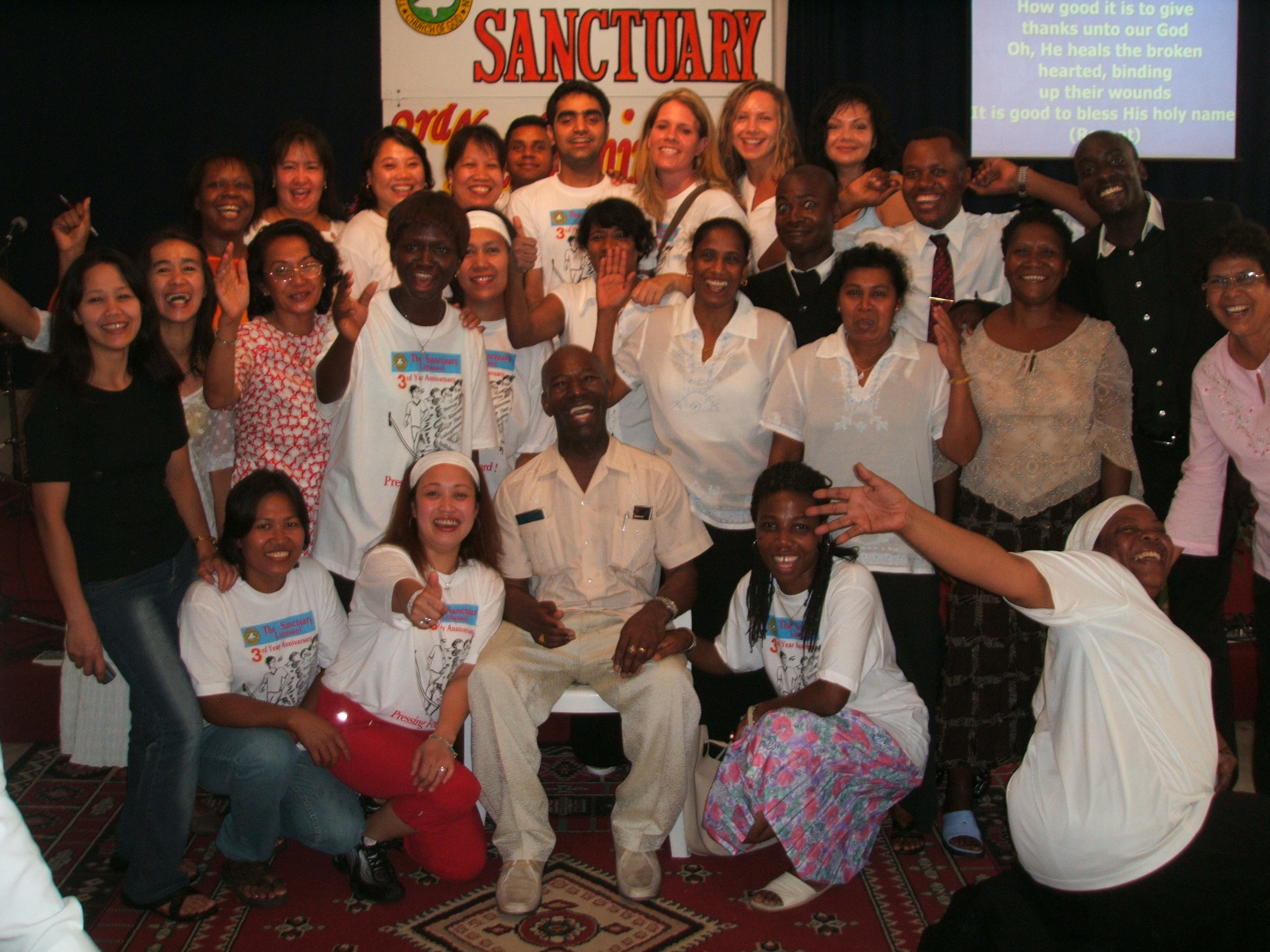 Apostle McFarlane during the Mission to Cyprus with some of the saints