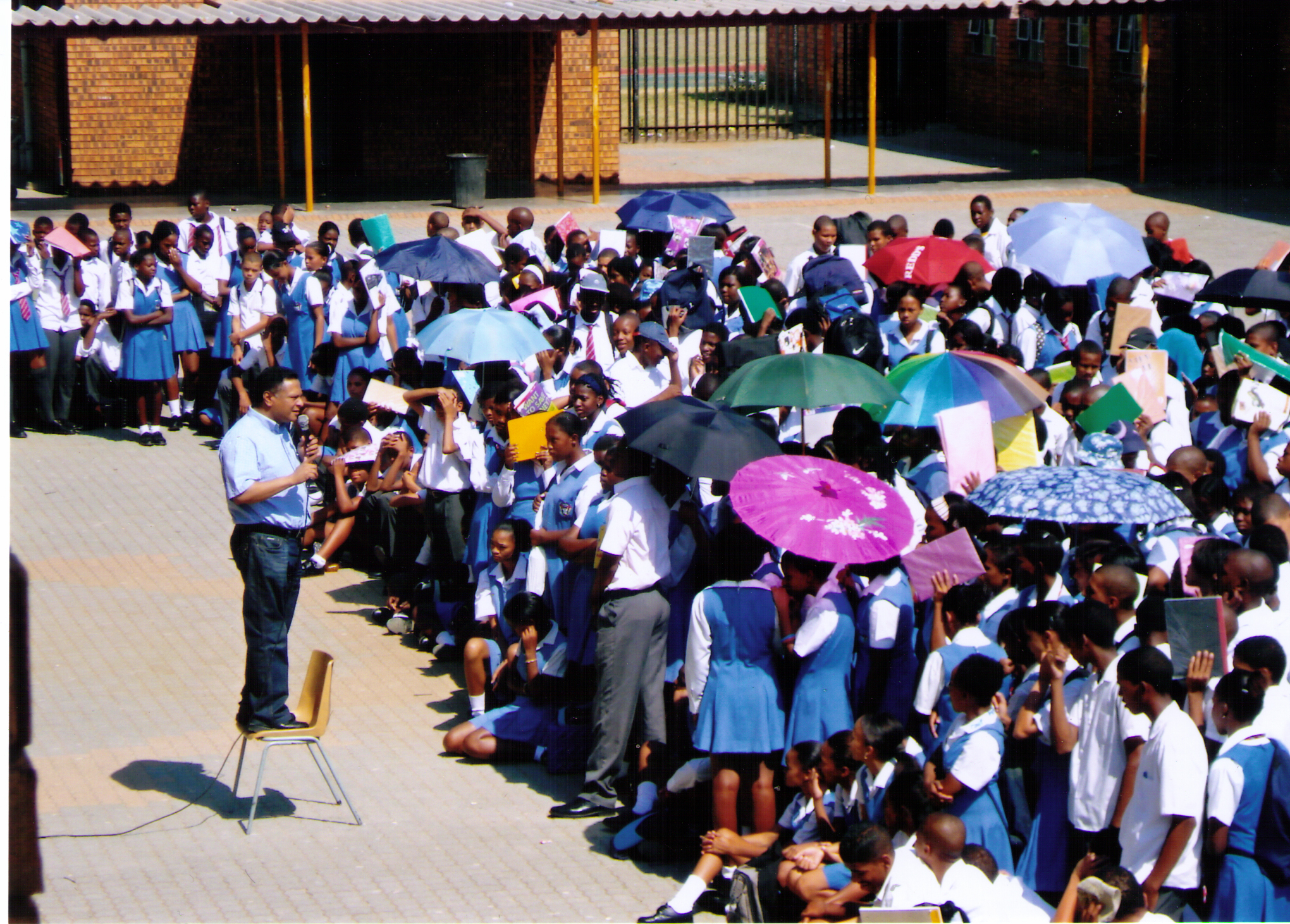 Pastor Ivan Fredericks, BOTR South Africa Pastor preaching to High School Students